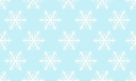 Blue seamless winter pattern with white snowflakes. Vector graphic illustration for Merry Christmas and Happy New Year.