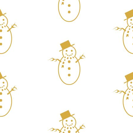 White seamless pattern with golden snowman.  Vector graphic illustration for Merry Christmas and Happy New Year. Çizim