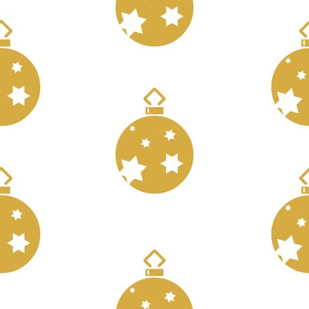 White seamless pattern with golden Christmas balls with stars.  Vector graphic illustration for Merry Christmas and Happy New Year.