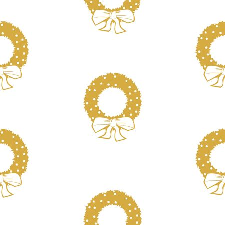 White seamless pattern with golden Christmas wreaths.  Vector graphic illustration for Merry Christmas and Happy New Year.