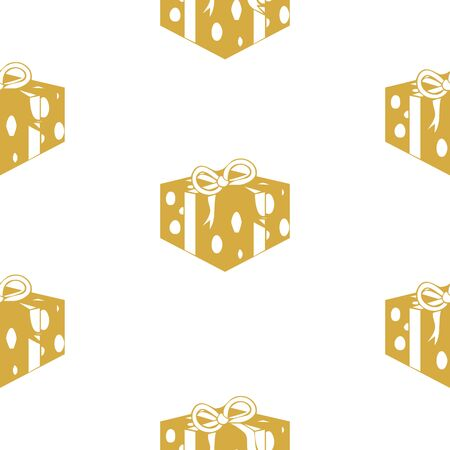 White seamless pattern with golden gift boxes.  Vector graphic illustration for Merry Christmas and Happy New Year. Çizim