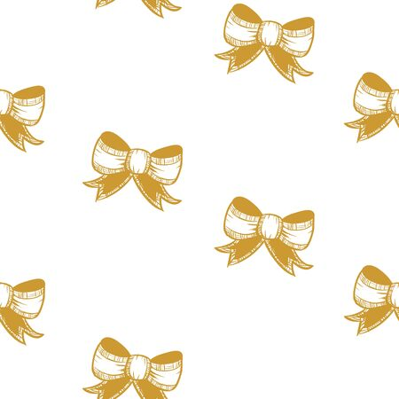 White seamless pattern with golden bows.  Vector graphic illustration for Merry Christmas and Happy New Year.