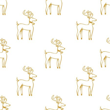 White seamless pattern with golden Christmas deer.  Vector graphic illustration for Merry Christmas and Happy New Year.