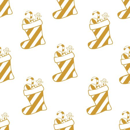 White seamless pattern with golden socks or boots and candy canes.  Vector graphic illustration for Merry Christmas and Happy New Year. Çizim