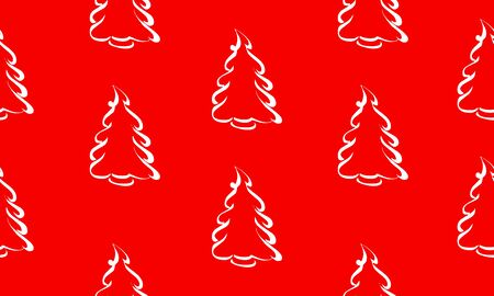Red seamless pattern with white pines or Christmas trees.  Vector graphic illustration for Merry Christmas and Happy New Year.