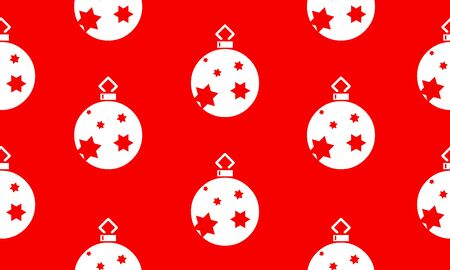 Red seamless pattern with white Christmas balls with stars.  Vector graphic illustration for Merry Christmas and Happy New Year.