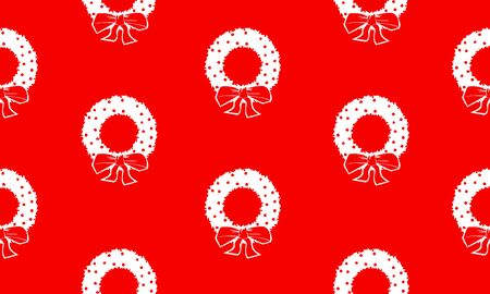 Red seamless pattern with white Christmas wreaths.  Vector graphic illustration for Merry Christmas and Happy New Year.