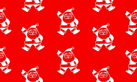Red seamless pattern with white Santa Claus.  Vector graphic illustration for Merry Christmas and Happy New Year.