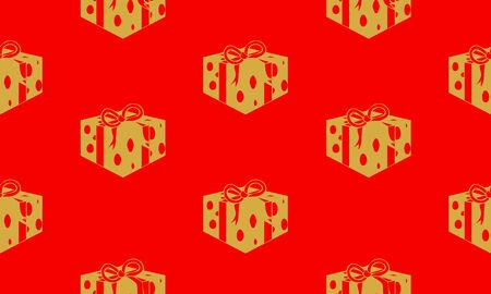 Red seamless pattern with golden gift boxes.  Vector graphic illustration for Merry Christmas and Happy New Year.