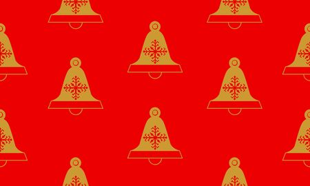 Red seamless pattern with golden bells.  Vector graphic illustration for Merry Christmas and Happy New Year.