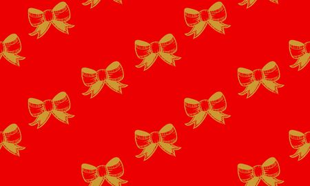Red seamless pattern with golden bows.  Vector graphic illustration for Merry Christmas and Happy New Year. Çizim