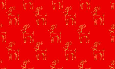 Red seamless pattern with golden Christmas deer.  Vector graphic illustration for Merry Christmas and Happy New Year. Çizim