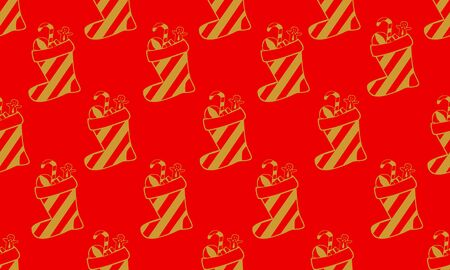 Red seamless pattern with golden socks or boots and candy canes.  Vector graphic illustration for Merry Christmas and Happy New Year.