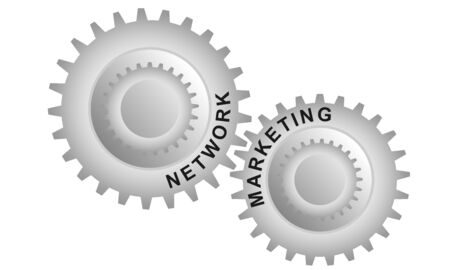 Network marketing concept. Abstract background with connected gears. Vector infographic illustration.