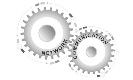 Network communication concept. Abstract background with connected gears. Vector infographic illustration.
