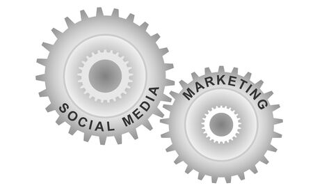 Social media marketing concept. Abstract background with connected gears. Vector infographic illustration.