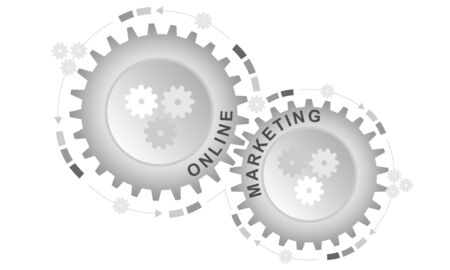 Online marketing concept. Abstract background with connected gears. Vector infographic illustration.