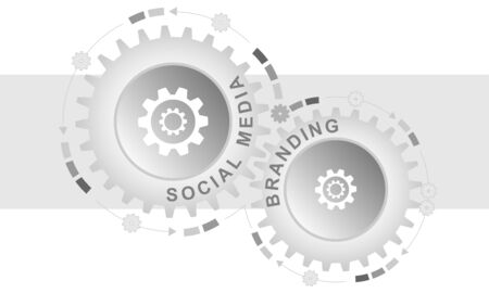 Social media branding concept. Abstract background with connected gears. Vector infographic illustration.