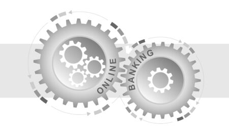 Online banking concept. Abstract background with connected gears. Vector infographic illustration. Çizim