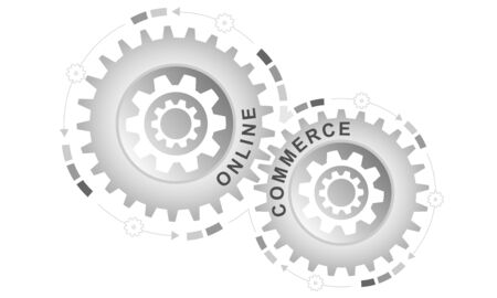 Online commerce concept. Abstract background with connected gears. Vector infographic illustration. Çizim