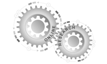 Online research concept. Abstract background with connected gears. Vector infographic illustration.
