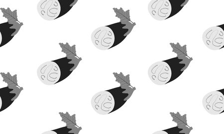 Seamless background with sliced eggplants.Vector monochromatic illustration design for template. Çizim