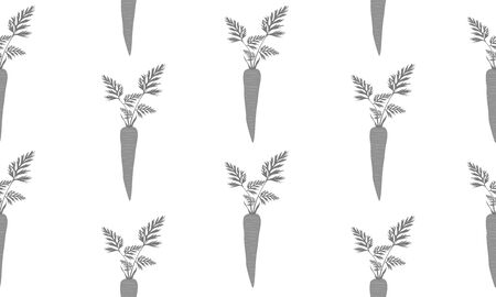 Seamless background with carrots. Vector monochromatic illustration design for template. Çizim
