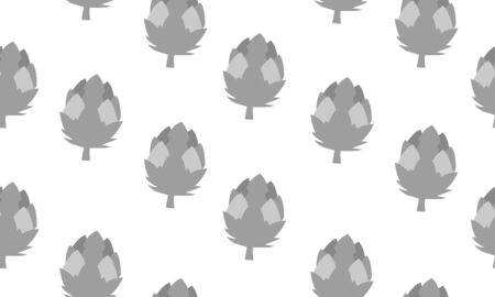 Seamless background with artichokes. Vector monochromatic illustration design for template. Çizim