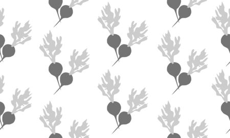 Seamless background with radishes. Vector monochromatic illustration design for template.
