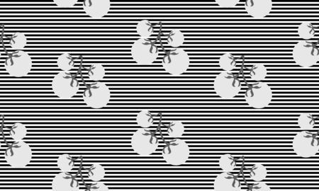Seamless background with stripes and cherry tomatoes. Vector monochromatic illustration design for template.