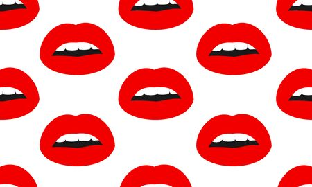 Vector seamless pattern with womans red  kissing flat lips. Lips pattern  isolated on white background.