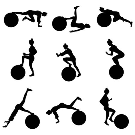 Set of young girls doing exercises in the gym. Beautiful young woman doing exercises with ball. Flat vector illustration. Black silhouette.