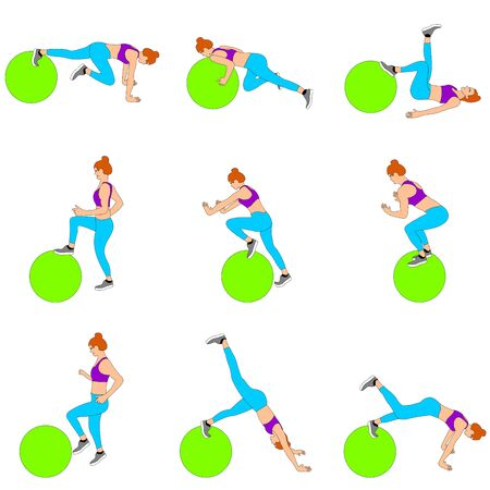 Set of young girls doing exercises in the gym. Beautiful young woman doing exercises with ball. Full color flat vector illustration. Çizim