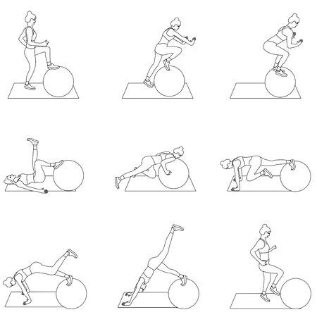 Set of young girls doing exercises in the gym. Beautiful young woman doing exercises with ball. Flat vector illustration.  Line design.