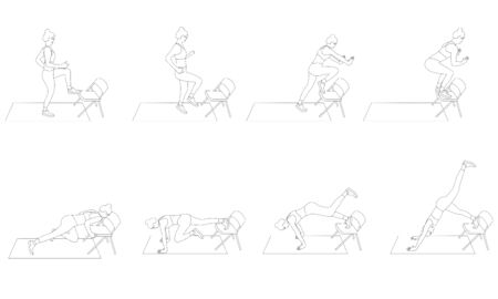 Set of young girls doing exercises in the gym. Beautiful woman doing exercises with chair. Flat vector illustration.  Line design.