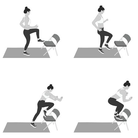 Set of young girls doing exercises in the gym. Beautiful young woman doing exercises with ball. Grayscale flat vector illustration. Çizim