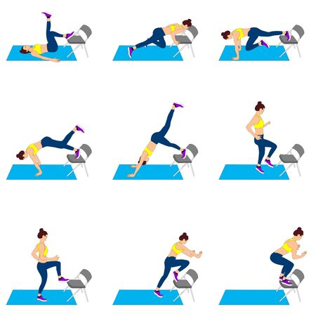 Set of young girls doing exercises in the gym. Beautiful woman doing exercises with chair. Full color flat vector illustration. Çizim