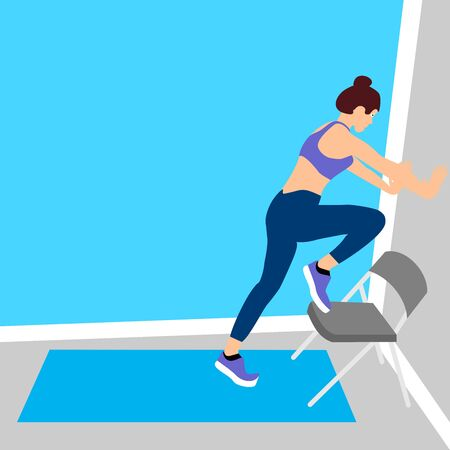 Beautiful young woman doing exercises on chair in a fitness studio. Girl exercising fitness training. People vector illustration.