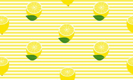 Seamless background with half lemons and yellow stripes. Vector illustration design for greeting card or template.