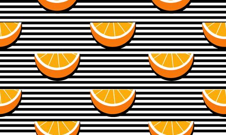 Seamless background with stripes and slices oranges with black shadow. Vector illustration design for greeting card or template. Stock Illustratie