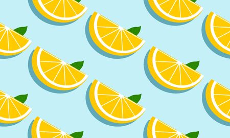 Seamless blue background with grapefruit slices and leaves with shadow. Vector fruit design for pattern or template.