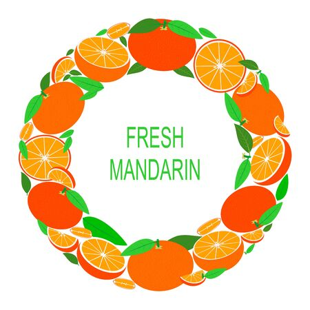 Wreath with mandarin. Vector Illustration with fresh mandarins in circle. Vector flat design suitable from template, banner, border, frame, card or icon. Stock Illustratie