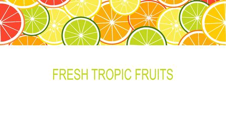 Vector fresh slices tropical fruits template suitable for banners, magazines, websites, restaurants and menus. Healthy eating with fruits for a healthy lifestyle.