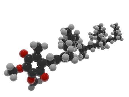 Illustrazione 3d della molecola del coenzima CoQ10 (q10). È un ingrediente molto comune nel supplemento anti-invecchiamento che funziona come antiossidante mitocondriale che spegne i suoi radicali liberi. Archivio Fotografico - 93879802