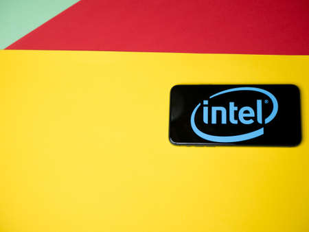 USA - May, 2020; Intel Iphone Screen on colored background. #Intel
