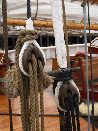 schooner: Ropes and rigging of the Blue Nose Schooner Stock Photo