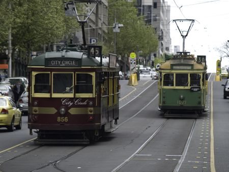 Old fashion street cars on the streets of Melbourne Australia. Banco de Imagens - 2817984