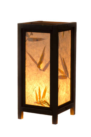 Japanese lantern with hand made paper impressed with flowers and leaves photo