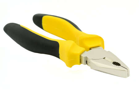 Black and Yellow Flat Nose Pliers Isolated on white photo