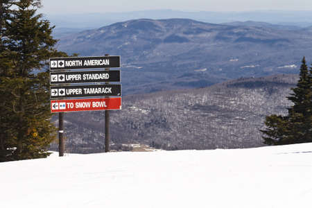 Stratton Mountain Ski Tracks Signs photo